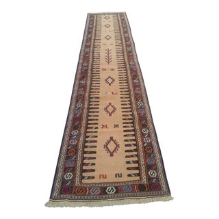 Persian Embroidered Wool Runner Rug - 12′ × 2′7″ For Sale