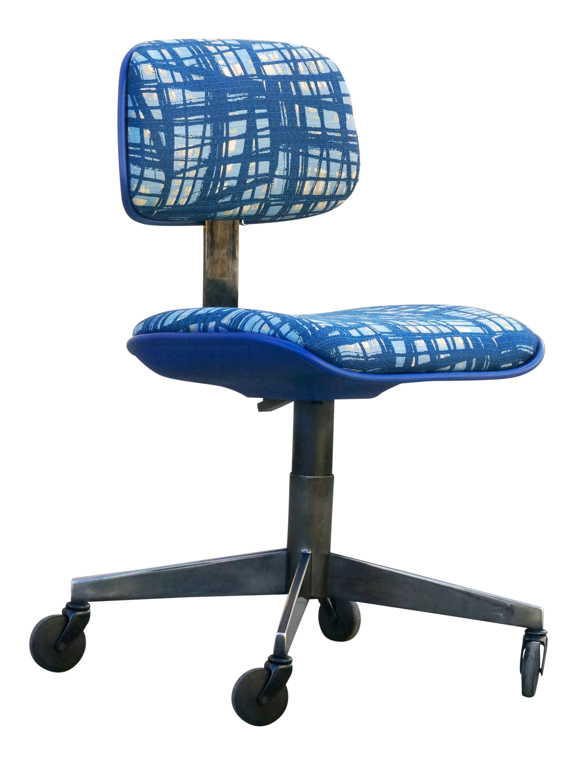 blue task chair. Vintage 80s Chrome Steelcase Task Chair With Abstract Fabric Blue