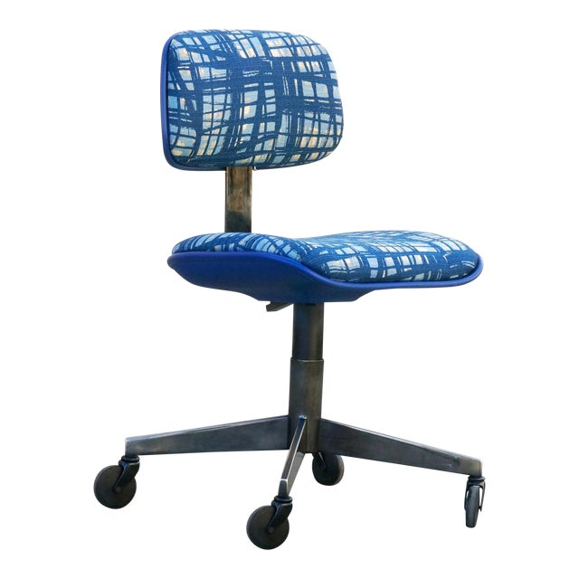 Vintage 80s Chrome Steelcase Task Chair With Abstract Fabric For Sale