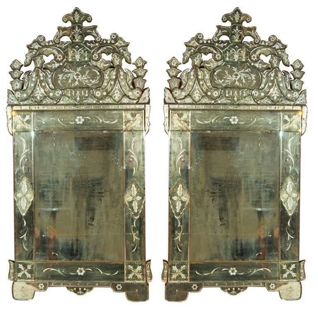 Pair of German Clear Center Venetian Style Mirrors For Sale - Image 11 of 11
