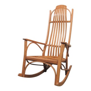 Adirondack Oak Bentwood Rocking Chair For Sale