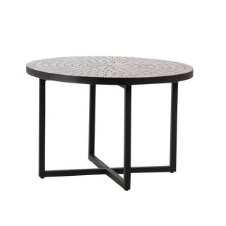 Black Mosaic & Metal Coffee Table For Sale