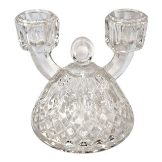 1940s Vintage Indiana Glass Double Arm Candlestick Holder For Sale