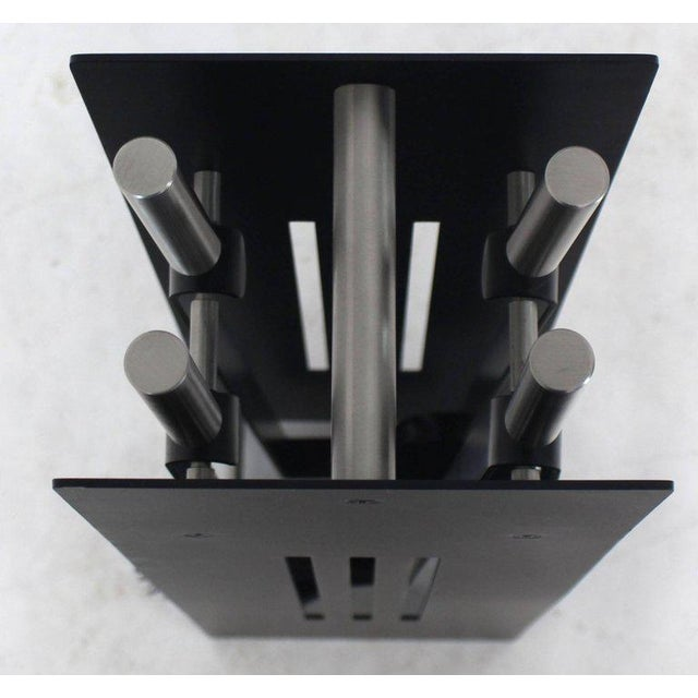 Mid-Century Modern Modern Set of Fireplace Tools Black and Chrome For Sale - Image 3 of 9