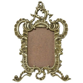French Antique Brass Picture Frame For Sale