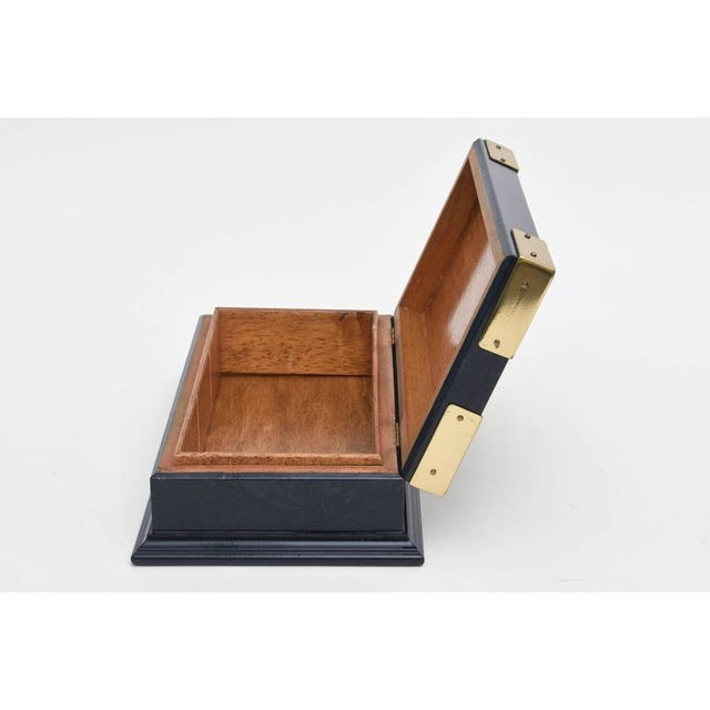 Gucci Italian Vintage Gucci Blue Lacquered and Brass Hinged Box For Sale - Image 4 of 10