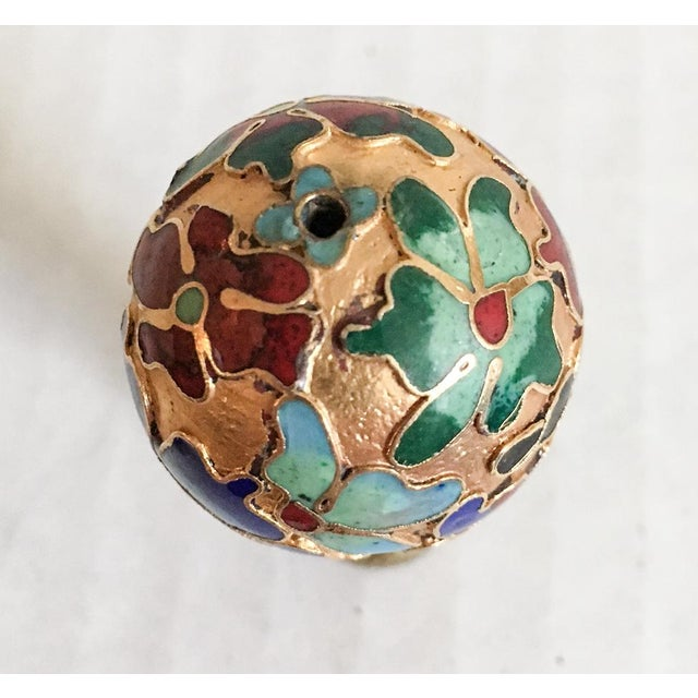 Asian Vintage Cloisonne Floral Lamp Finial For Sale - Image 3 of 6