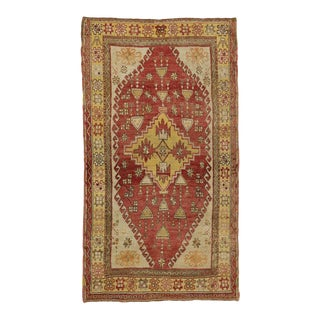 Antique Turkish Oushak Rug With Geometric Design, Gallery Rug