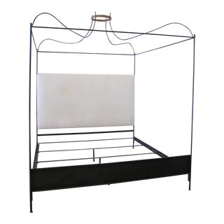 King Size Venetian Iron Canopy Bed with Upholstered Antique Linen Headboard For Sale