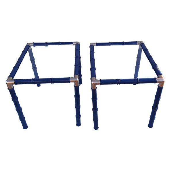 Pair Mid Century Faux Bamboo Glass Side/End Tables Lacquered Blue Pair Faux Bamboo Tables For Sale