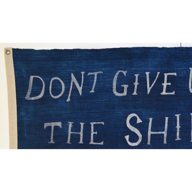 "Shabby Chic Boho Chic Nautical Themed Indigo Blue/White African Textile Flag 35"" X 21"" For Sale - Image 3 of 10"