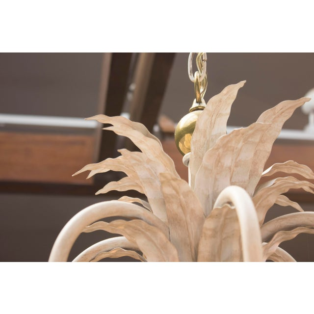 1960's White Wash Iron and Brass 6 Arm Chandelier - Image 5 of 9