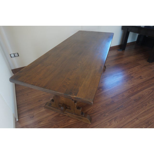 Walnut Spanish Rustic Dining Room Table with Lyre Leg For Sale - Image 7 of 10