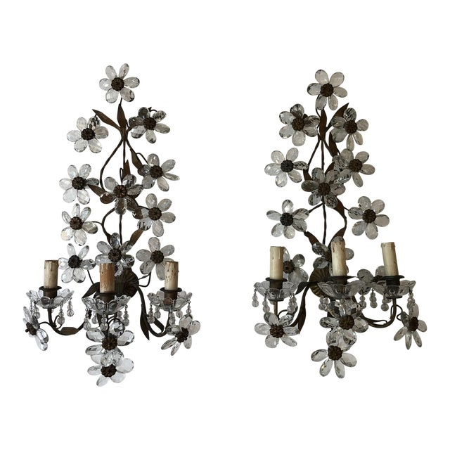 Huge Clear Flower Maison Bagues Style Three-Light Sconces For Sale