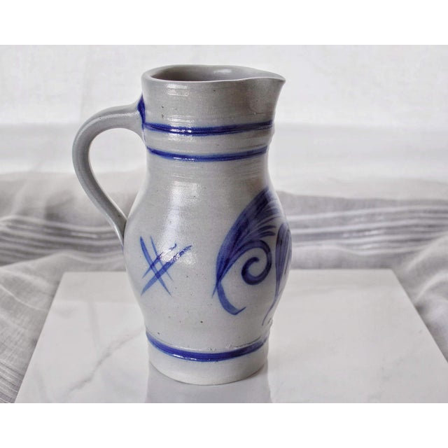 Alsace Pottery French Betschdorf Salt Glazed Pitcher Jug For Sale - Image 9 of 9