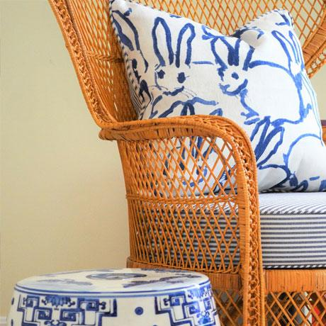 Bunny Fabric - Hutch Print Navy - Hunt Slonem - Lee Jofa - Groundworks - Lumbar For Sale In Portland, OR - Image 6 of 7