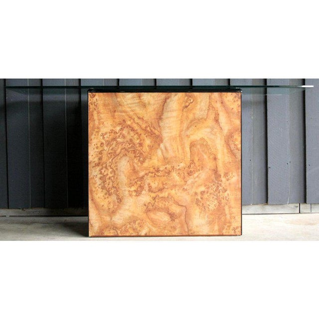 1980s Contemporary Faux Birdseye Maple Burl Console Table For Sale - Image 13 of 13