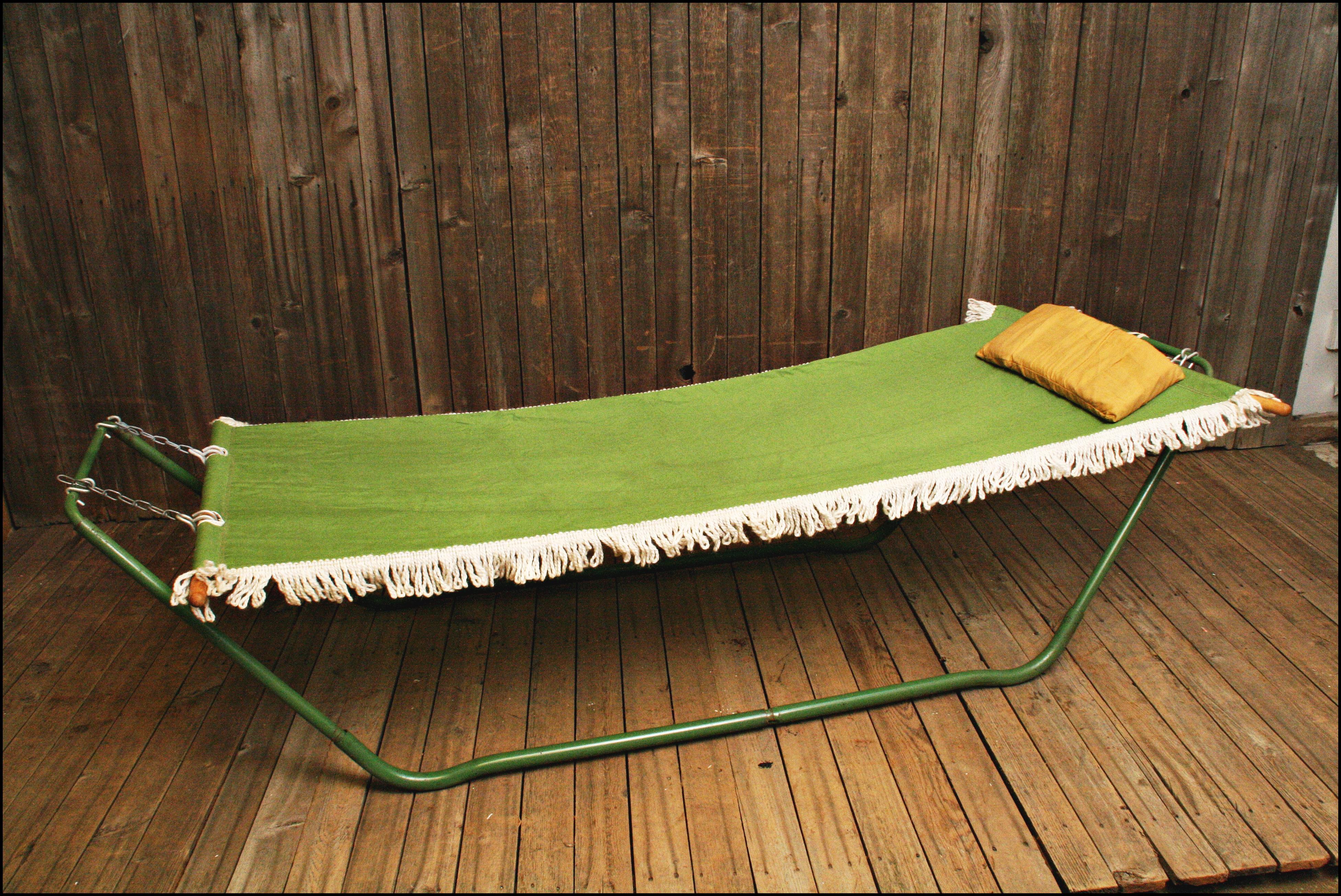 mid century modern green canvas algoma hammock   image 3 of 11 mid century modern green canvas algoma hammock   chairish  rh   chairish