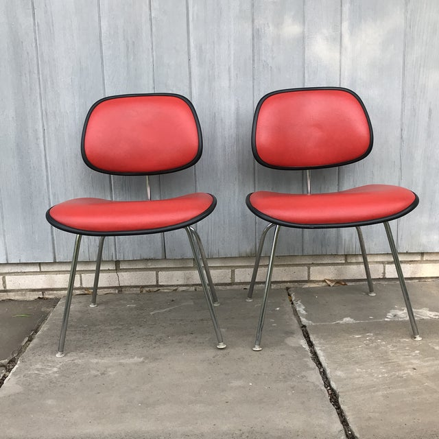 Herman Miller 1970s Vintage Eames for Herman Miller Dcm Chairs- A Pair For Sale - Image 4 of 8