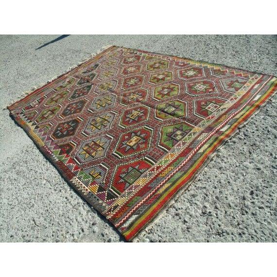"Vintage Handwoven Turkish Kilim Rug - 6' 4""x8' 9"" - Image 3 of 6"