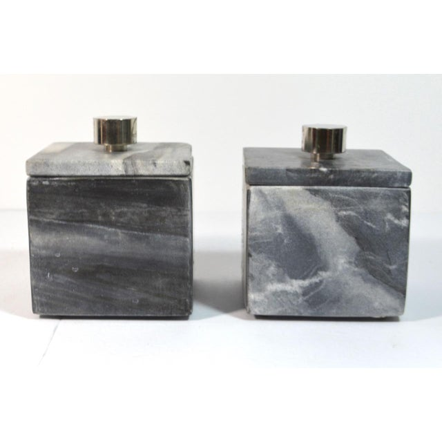 2010s Contemporary Small Square Slate Gray Marble Boxes - A Pair For Sale - Image 5 of 7
