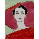"Image of Sarah Myers ""The Red Dress"" Contemporary Acrylic Painting For Sale"
