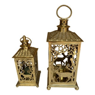 1970s Brass Candle Lanterns - Set of 2 For Sale