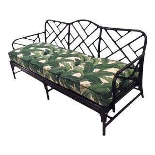 Vintage Rattan Chinese Chippendale Sofa