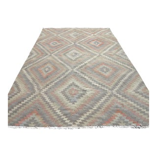 "1950's Anatolian Kilim Diamond Design Rug-6'10'x10'4"" For Sale"