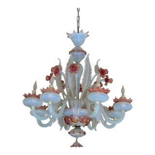 1940's Floral Pink Murano and Opaline Glass Chandelier For Sale