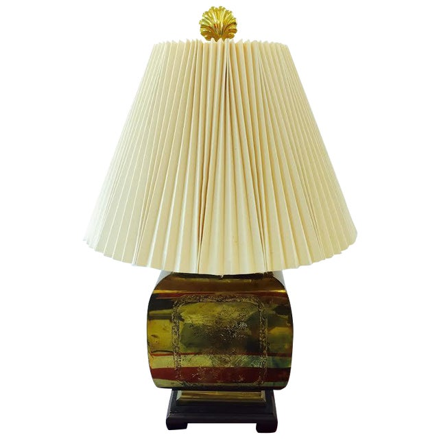 Vintage Asian Style Etched Brass Lamp For Sale