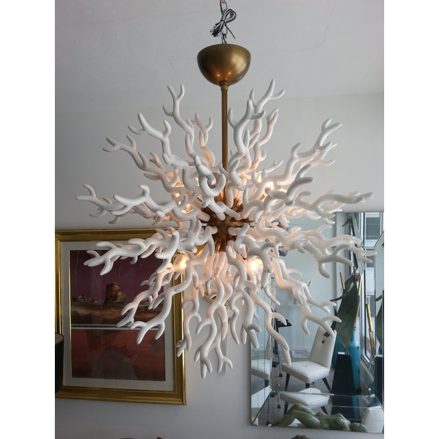 This stylish and chic faux coral chandelier is very much in the style of pieces created by Tony Duquette. Note: Required...
