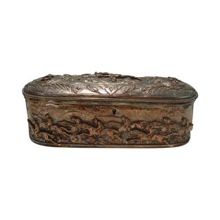 French Silver Plate Horse Racing Jewelry Box For Sale
