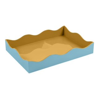 The Lacquer Company for Chairish Belle Rives Tray in Mayan Gold / Bluebird, Large For Sale