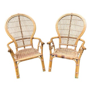 1970s Boho Chic Bentwood Bamboo/Rattan Fan Back Arm Chairs - a Pair For Sale