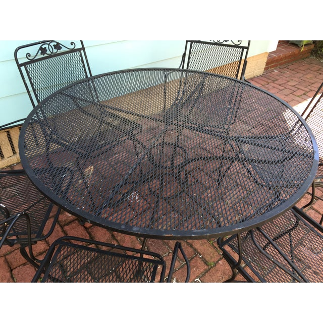 Vintage Iron Patio Dining Table & Chairs - S/7 - Image 4 of 6