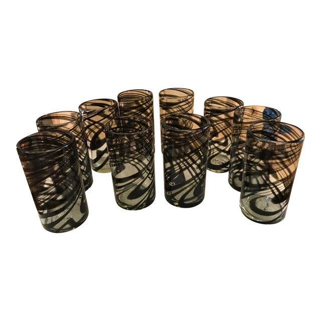 Vintage Hand-Blown Black Swirl Tumbler Glasses - Set of 10 - Image 1 of 11