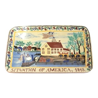 1848 Turtle Creek Trencher Situation of America Redware Pottery Tray For Sale