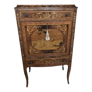 King Louis Inlaid Wood Bar Cabinet