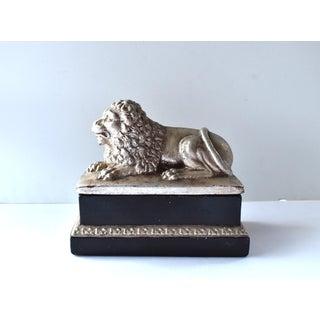 Vintage Mid Century Silver Recumbent Lion Box Preview