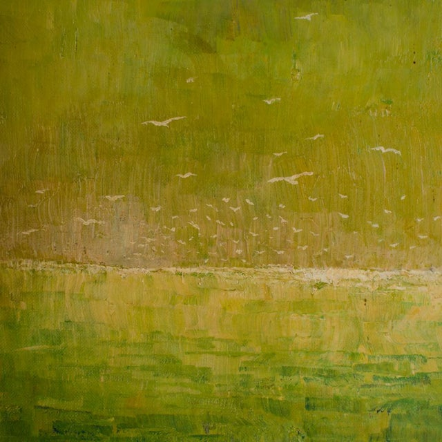 Flock of Seagulls, abstract green ocean with white seaguls flying - Oil on Board , signed lower right and dated '62 -...