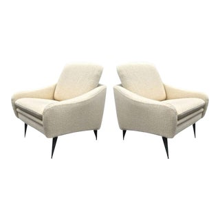 J.A.Motte for Steiner Lounge Chairs Newly Recovered in Alpaca Wool For Sale