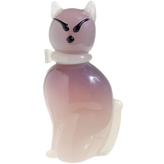 Archimede Seguso Murano Opal Purple White Italian Art Glass Kitty Cat Figure For Sale