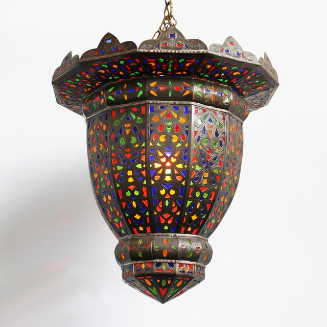Moroccan Brass & Colored Glass Lantern - Image 2 of 5