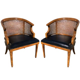 Vintage Mid Century Drexel Cane Barrel Back Club Chairs - A Pair For Sale