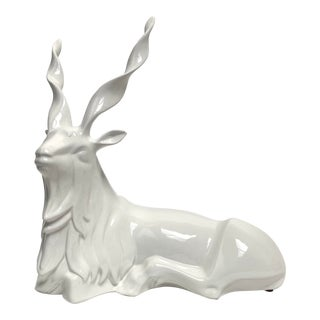 FInal Markdown Italian Porcelain Oversized White Sitting Spiral Horned Antelope Figure For Sale