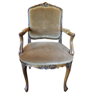 Louis XV Style Carved Arm Chair Upholstered in Mohair, Early 20th Century For Sale