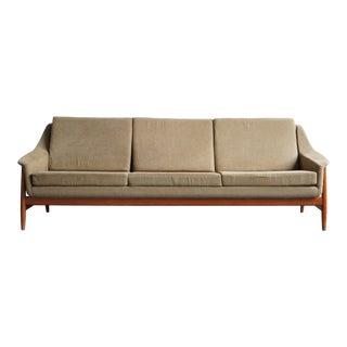 Vintage Mid-Century Green Teak Dux Sofa For Sale