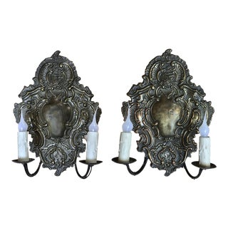 Pair Antique Embossed Baroque Brass Wall Sconces For Sale