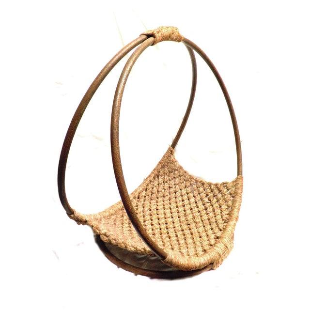 Mid-Century Modern Minimalist Wool Basket - Image 1 of 5